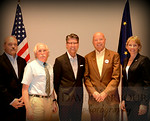 6-19-14 Young Republicans Sponsor SB 21 Tax Forum, Photo by Dave Harbour.  Panel, Left to right, Doug Smith, Dr. Oliver Scott Goldsmith, Andrew Halcro, Rick Mystrom, Senator Cathy Giessel.